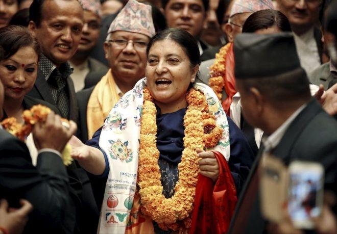 Prez Mukherjee congratulates Bidhya Devi Bhandari on her election as President of Nepal