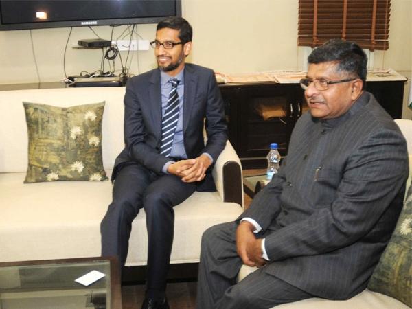 India welcomes Pichai; Google to partner with   'Internet Saathi' program says Ravi Shankar