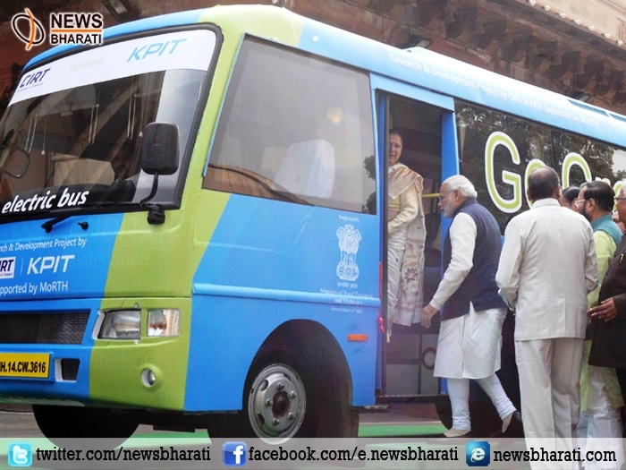 PM Modi flags off electric bus for lawmakers; says battery powered bus is another initiative of 'Make in India' campaign