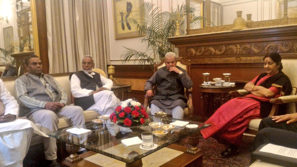 Swaraj meets Nepal's Madhesi leaders; calls for speedy political solution to ongoing crisis