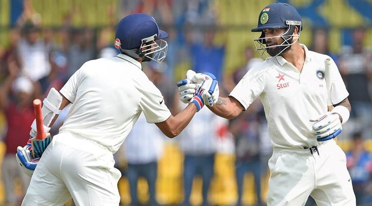 Indian skipper Virat Kohali hits the double ton, declares the innings on 557/5