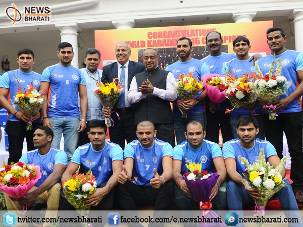 Goel felicitates Indian Kabaddi team for winning world cup; awards Rs.10 lakhs to each player