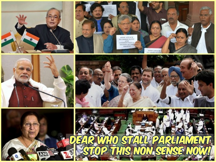 Dear Hon'ble Parliamentarians, the MPs who are stalling Parliament
