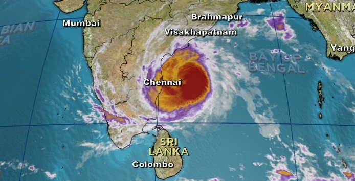 Tropical cyclone Vardah hits the coastal region of Tamil Nadu and AP