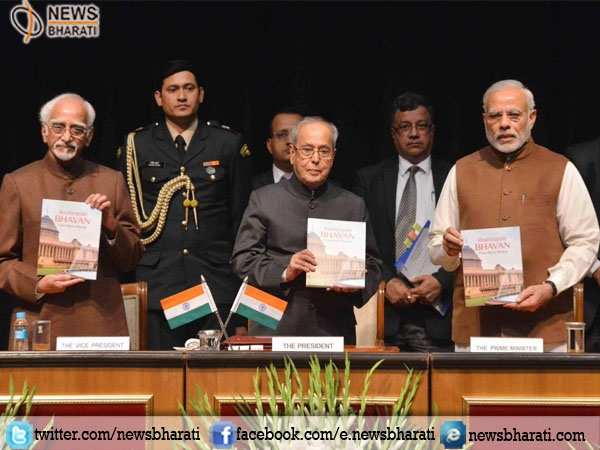 "Modi presented the first copy of book ""Rashtrapati Bhavan: From Raj to Swaraj"" to President"