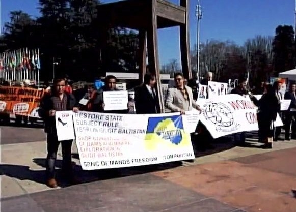 PoJK leaders protest outside UN in Geneva against the atrocities of Pakistan