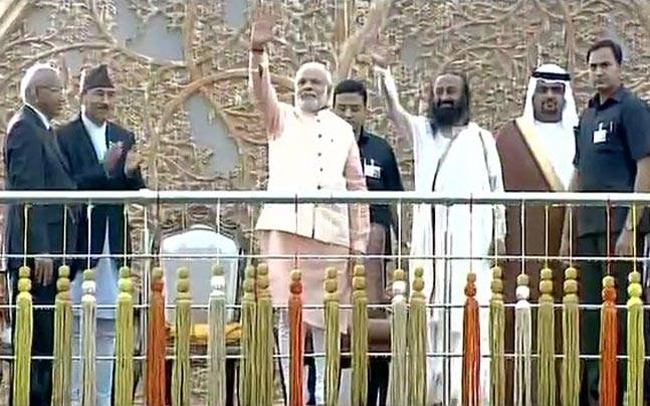 Take pride in our heritage to stand tall in world, PM Modi at Sri Sri event