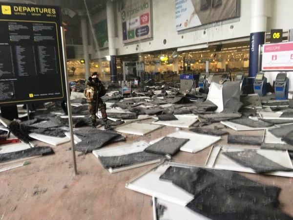 Explosions rip through Brussels' Zaventem airport; about 17 killed and 20 injured in the blast