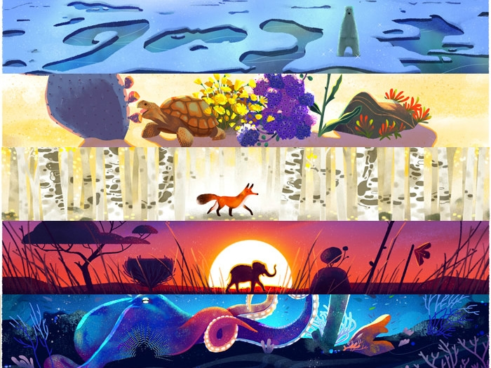 Google Doodle portrays 5 shades of environment on 'Earth Day'