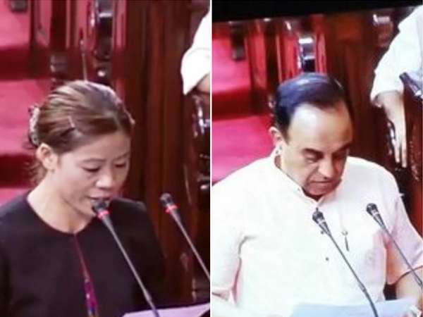 BJP leader Subramanian Swamy and Olympic medallist Mary Kom take oath as members of RS