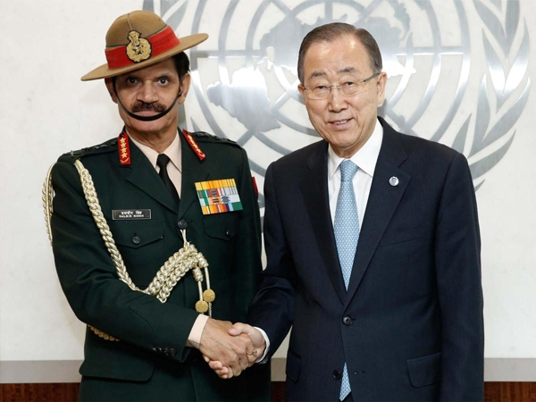 Indian Army Chief meets Ban Ki-Moon; assures India's continued commitment to global peace