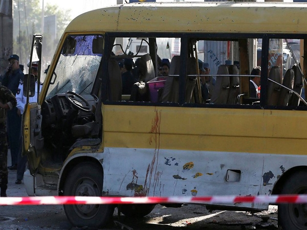 Taliban' suicide bomber attacks minibus in Kabul; 14 foreign security guards killed