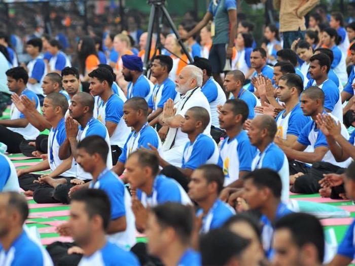 PM Modi celebrates mass yoga demonstration in Haryana; says Yoga provides health assurance with zero budget