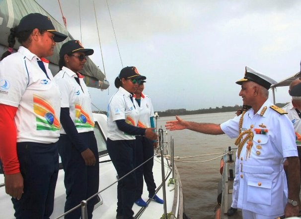 Indian Navy's Mhadei returns home after successful completion of All Women Expedition