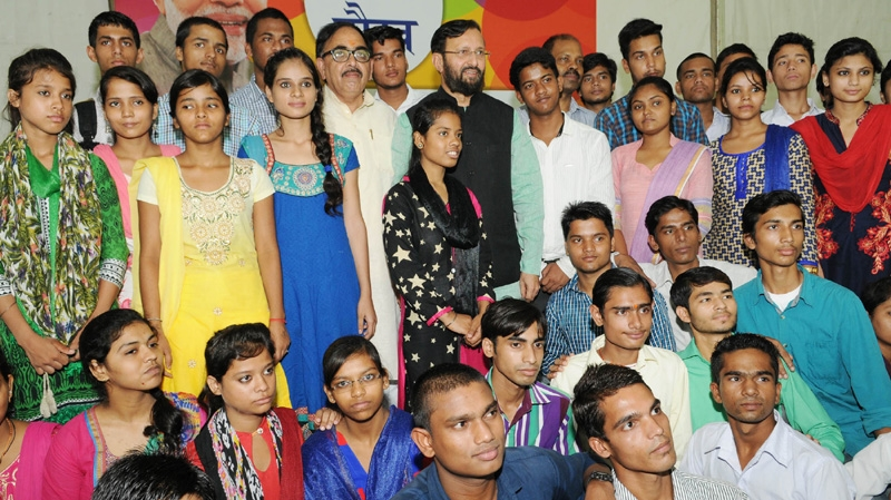 Javadekar felicitates Class 12th achievers who excelled braving difficult economical situations