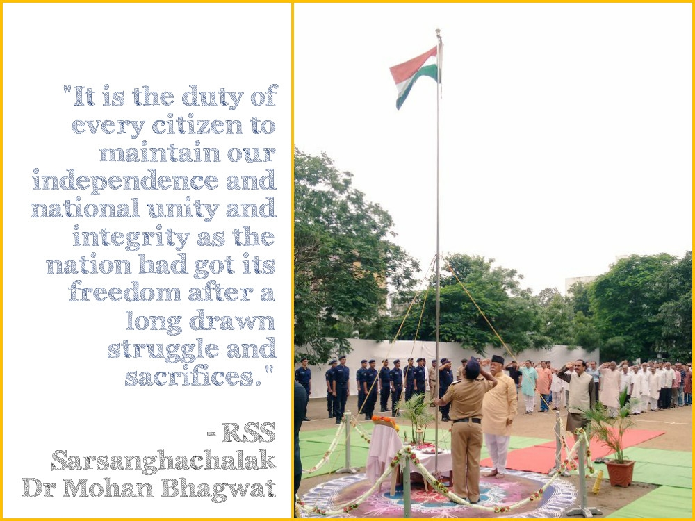 RSS Chief hoists national tricolour at RSS HQ