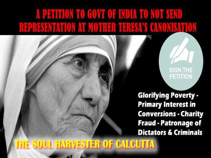 Petition drive to restrain govt representation at Mother Teresa's canonization