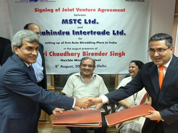देश का पहला ग्रीन फील्ड ऑटो श्रेडिंग संयंत्र शुरू करने के लिए महिंद्रा-एमएसटीसी में करार