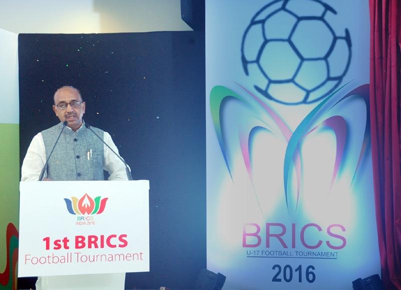 Union Minister Vijay Goel launches the Logo of BRICS U- 17 Football Tournament