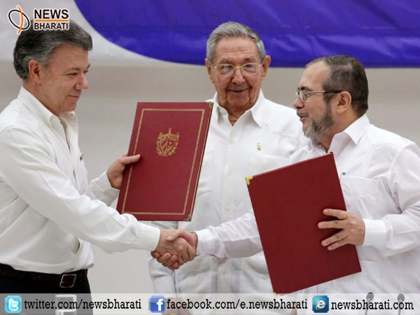 Colombia and FARC sign treaty; mark end of armed conflict in Latin America