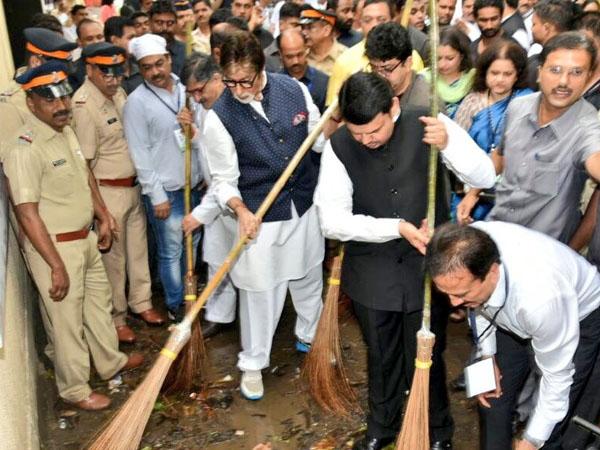 Devendra Fadnavis, Amitabh Bachchan initiate 'Maha Cleanathon'; initiative covers 50 cities
