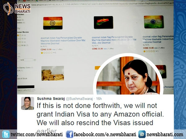 Shocked by Sushma's strict avatar, Amazon removes all products insulting Indian flag