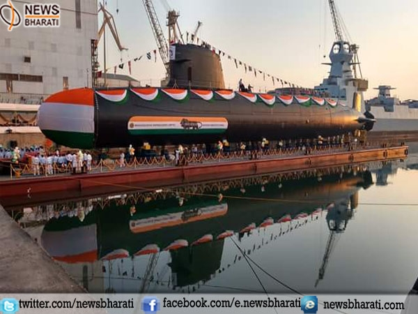 "Indian Navy's 2nd Scorpene Class Submarine ""Khanderi"" launched today"