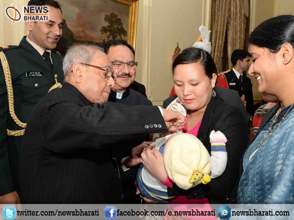 Prez Pranab launches Nationwide Polio Programme by administering Polio Drops to Children