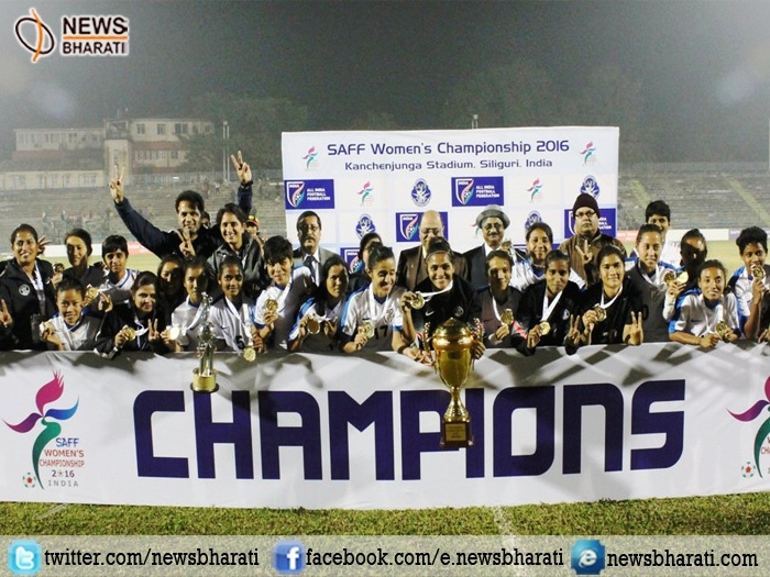 Indian women team beats Bangladesh in finals of South Asian Football Federation and bags title