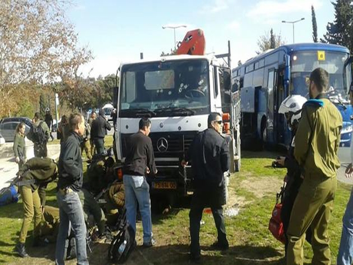 Arab terrorist rams truck into Israeli soldiers killing four