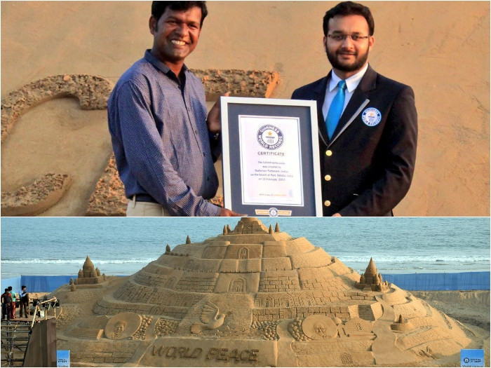 Pride for India! Sudarsan Pattnaik creates Guinness World Record by creating 48.8 feet tall sand castle