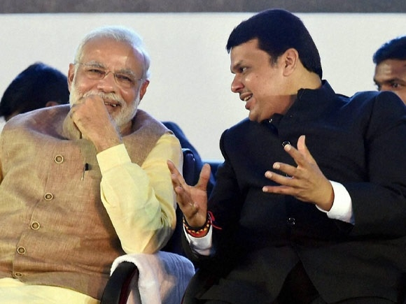 Maha Chief minister Devendra Fadnavis meets PM Narendra Modi after resounding victory