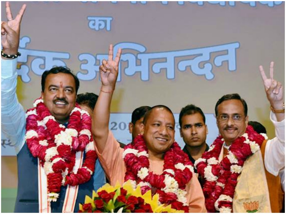 Yogi AdityaNath chosen as next UP CM, K P Maurya, Dinesh Sharma to be Dy CMs