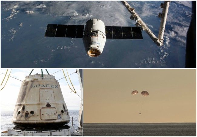 SpaceX Dragon Capsule loaded with cargo returns back to Earth splashes in Pacific