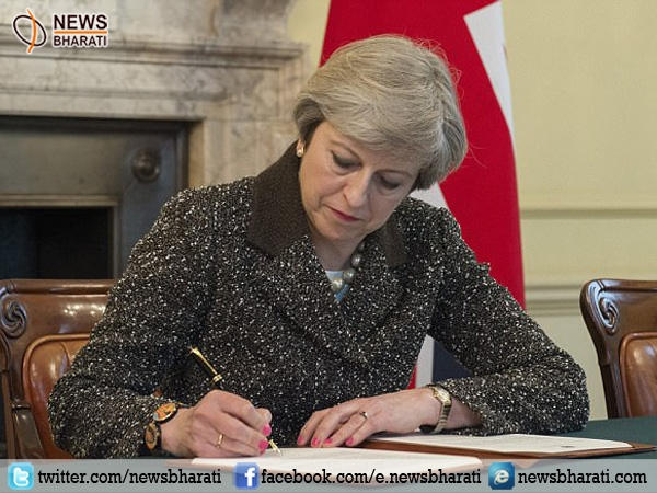 UK PM Theresa May signs letter to exit EU