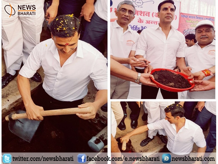 Akshay Kumar empties toilet pit; urges all to own household toilets for health and dignity