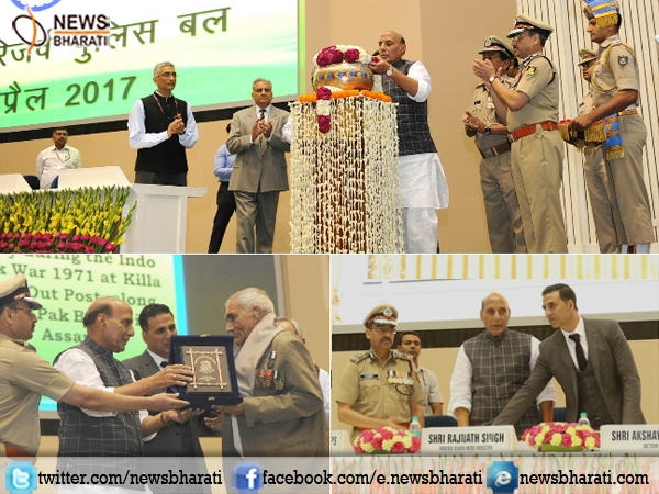 Expressing gratitude for Martyrs' kins: Akshay Kumar with Rajnath launch #BharatKeVeer app