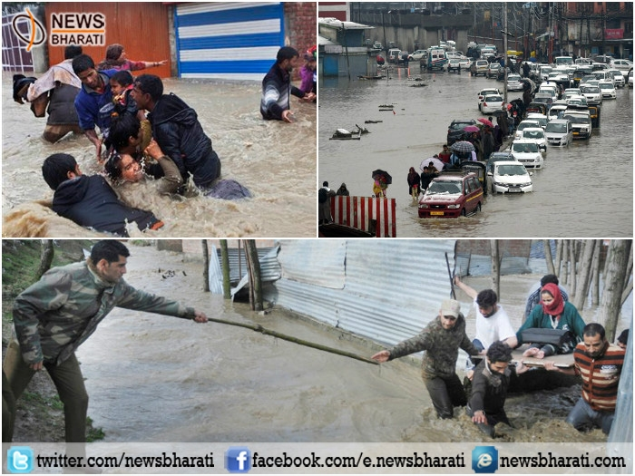 Heavy rainfall causes flood like situations in J&K; social life struck in beautiful valley