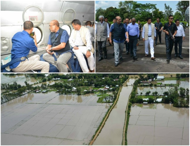 CM Biren Singh conducted an aerial survey to monitor #NorthEast floods