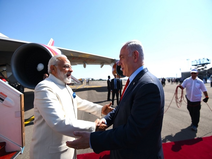 #GroundBreakingVisit: Modi arrives to a red carpet welcome in Israel