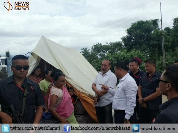 Manipur CM visits relief camps; assures to rebuild houses destroyed during heavy floods