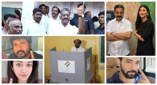 Commitment towards Democracy! Celebrities queue up to vote for 38 seats in Tamil Nadu