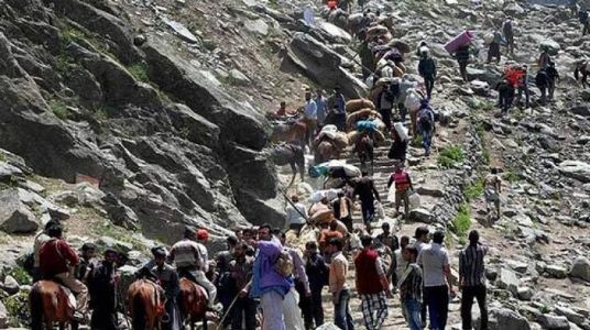 Walking footsteps towards serenity, 16th batch of pilgrims leave to offer prayers at Amarnath Yatra