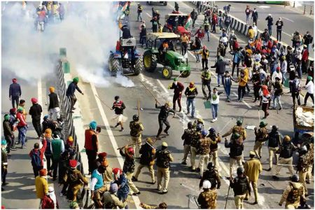 Insurrection or violence by protesting farmers