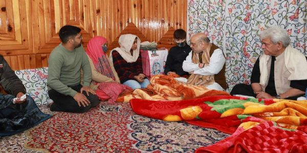 Amit Shah reaches Srinagar, visits house of inspector killed by terrorists last month