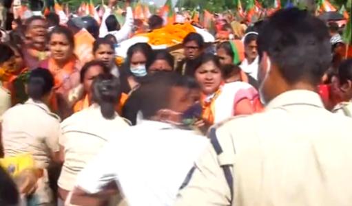 Odisha BJP Women Wing protest seeking resignation of Minister Dibya Shankar Mishra over alleged murder of Mamita Meher; Several detained